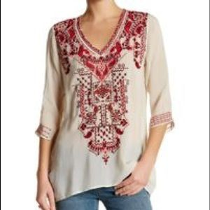 Johnny Was Classic Embroidered Tunic Top
